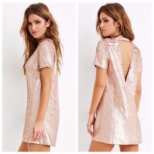 NWOT F21 Sequin Rose-gold dress